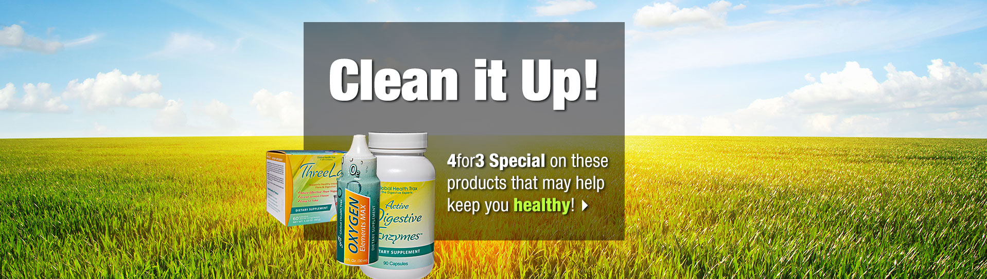 Cleansing products in sunny field
