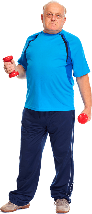 Senior man exercising by lifting hand weights