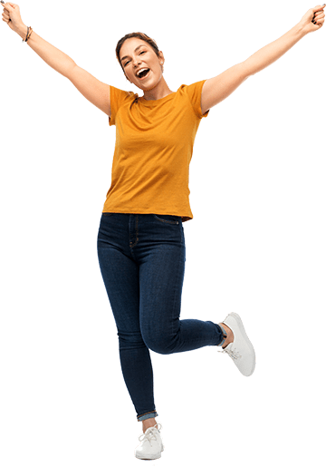 Healthy cheering woman